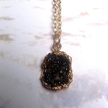 Druzy Necklace - Quartz Necklace - Gold Druzy - Black Druzy - Charcoal - Small Druzy Necklace - Crystal - Geode - Raw Gem