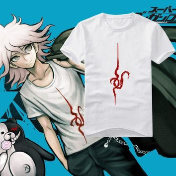 Anime Danganronpa Monokuma Komaeda Nagito T-shirt Cosplay Costume Dangan Ronpa White Short Sleeve Tee Shirt Daily Casual Tops
