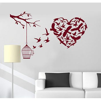 Vinyl Wall Decal Bird Cage Love Branch Romantic Room Decoration Stickers Unique Gift (ig3173)
