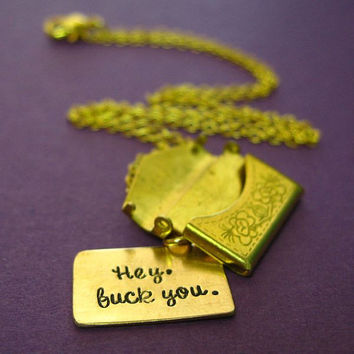 Rude Locket - Snark Letter Necklace - Custom stamped brass envelope necklace