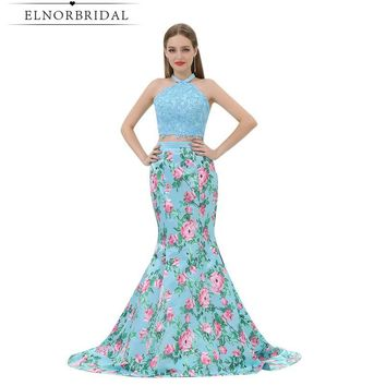 Modest 2 Piece Prom Dress Mermaid 2017 Vestido De Formatura 3D Printed Flower Sexy Birthday Party Dresses Long Evening Gowns