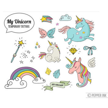 Unicorn Temporary Tattoo pack