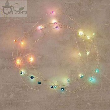 Battery Powered Rainbow Diamond String Lights gerlyanda Decorative LED Christmas Lights for Party Holiday Decoration Garland