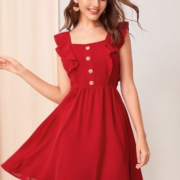 Button Detail Ruffle Armhole Tie Back Dress