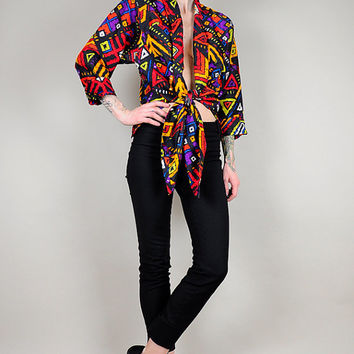 DEEP-V plunging neck SILK Sash tie GEOMETRIC abstract Neon Southwestern 80's Tribal Blouse Oversized Shirt Draped Slouchy o/s