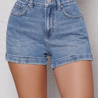 PacSun Cove Blue Cuffed Denim Mom Shorts at PacSun.com