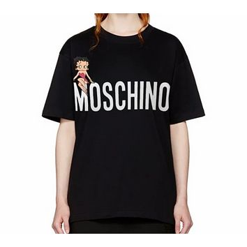 MOSCHINO Summer New Women's Neck Letter Cotton Short-sleeved T-shirt Loose Leisure Wild Black