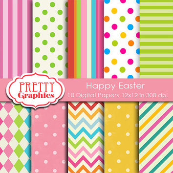 DIGITAL PAPERS - Happy Easter - Commercial Use - 12x12 JPG Files -Printable Papers- Scrapbook Papers - High Quality 300 dpi