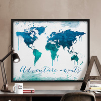 World map, Art Print, Watercolor, World map poster, Art, Watercolor map, Adventure awaits, Gift, World map print, Home Decor, iPrintPoster.