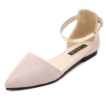 Pointed Toe Pure Color Metal Buckle Flats