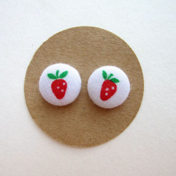 Strawberry Fabric Earrings, Summer Earrings, Fourth of July Earrings, 4th of July, Summer Barbecue, Strawberries, Fabric Button Earrings