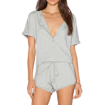 Bobi Supreme Jersey Short Sleeve Romper in Heatehr Grey