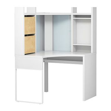 "CORNER DESK...MICKE Corner workstation - white/birch effect - 39 3/8x59 1/2 "" - IKEA"