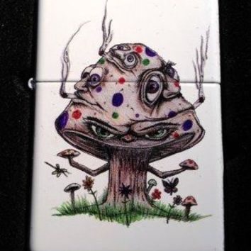 Zippo Custom Lighter - Smoking Mushroom Shroom Psychedllic Eyes Faces White Matte Limited Edition Very Rare!
