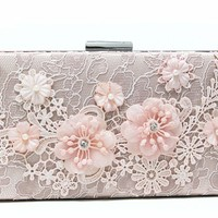 Emma Cate fashion evening bag pink lace clutch evening bags women handbag