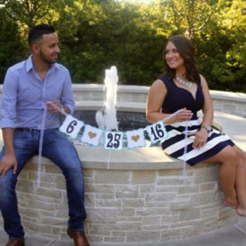 SAVE THE DATE banner custom wedding garland bunting photo prop engagement photos