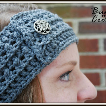 Crochet Headband Earwarmer Accessory Warm for Fall Winter with Button Christmas Gift Present Gray Dark Color Acrylic Yarn
