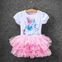 2016 Colorful New Girls Children Clothes Anna Elsa Dress For Girl Baby Dress Elsa Custom Vestidos Summer Cospaly Party Dress