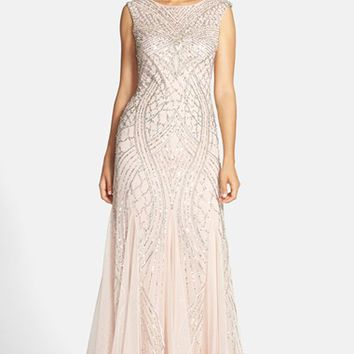 Women's Adrianna Papell Cap Sleeve Beaded Gown,
