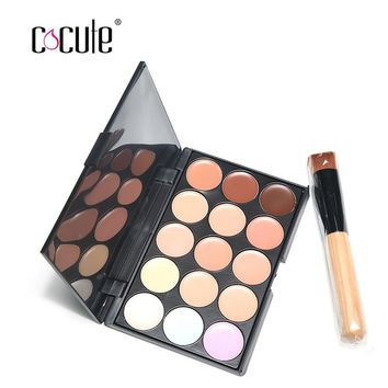 Makeup Sets 15 Colors Professional Salon Party Concealer Contour Face Cream Palette 1pc Makeup Brush Makeup Contour Palette