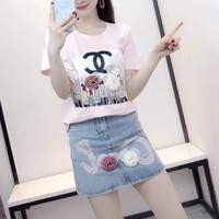 """Chanel"" Women Casual Fashion Lipstick Print Embroidery Flower Short Sleeve T-shirt Denim Skirt Set Two-Piece"