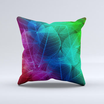 Glowing Leaf Structure Ink-Fuzed Decorative Throw Pillow