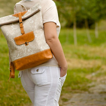 Canvas roll top backpack. Canvas leather backpack. Beige and orange colors. Canvas bag / travel bag