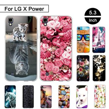 """Case For LG X Power K220DS LS755 5.3"""" Silicon Back Protection Cover For LG X Power K220 K450 Soft TPU Case Painted Pattern Shell"""