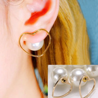 Pearl And Heart Wrapping Ear Cuffs (Reversible Wearing)