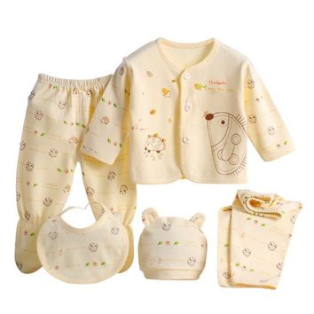 0-3 Months Baby Clothes Set Newborn Boys Girls Soft Underwear Cartoon Shirt and Pants Cotton Clothing 3 Colors