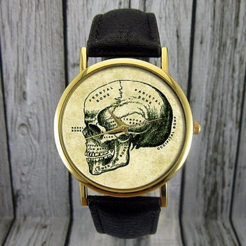 Vintage Skull Watch | Illustration | Leather Watch | Ladies Watch | Mens Watch | Gift Idea | For Him | For Her | Fashion Accessory | Anatomy