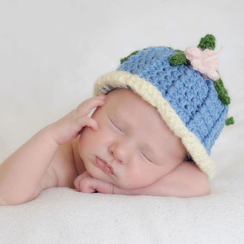 Crochet Blue Bell Flower Hat Girl Beanie with Butterfly, Bluebell, Spring Summer, Photo Prop, Picture