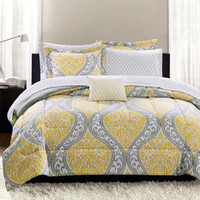 Walmart: Mainstays Yellow Damask Bedding Bed-In-A-Bag