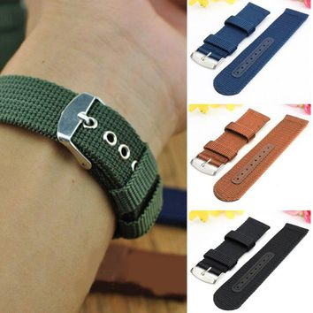 Balight Military Army Nylon Fabric Canvas Wrist Watch Band Strap 18/20/22/24mm 4Color With Stainless Steel Buckle