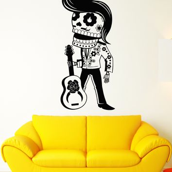 Vinyl Wall Decal Calavera Mexican Day Of The Dead Mariachi Guitarist Stickers Unique Gift (1981ig)