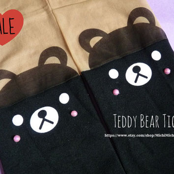Cute Black Bear Knee High Hosiery Pantyhose Tattoo Socks Leggings Tights Stockings Kawaii
