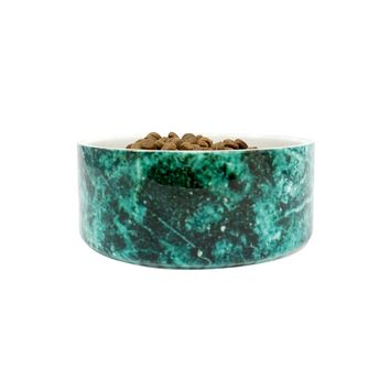 Ceramic Marble Dog Bowl, Deep Green