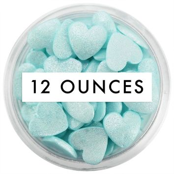 Light Turquoise Shimmer Heart Sprinkles 12 OZ