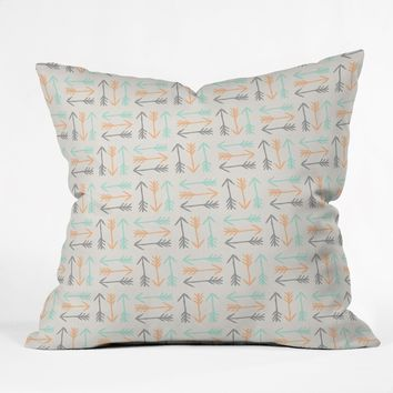 Allyson Johnson Peachy Arrows Pattern Throw Pillow