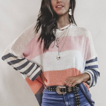 High Tide Gray Striped Breezy Pullover