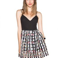 Little Black Organza Floral Gingham Dress
