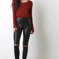 Knees Slit Vegan Leather Tight Leggings
