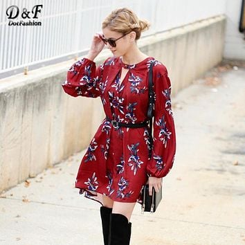 2016 Vintage Boho Dress Casual Style Fashion Korean Brand Dresses Wine Red Oxblood Baggy Long Sleeve Floral Flowery Dress