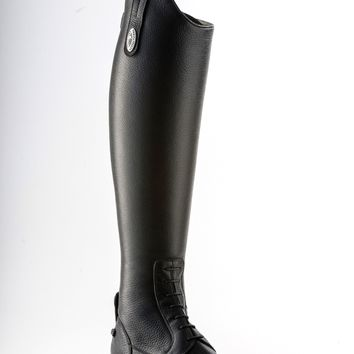 Tricolore by DeNiro Amabile Textured Leather Black Field Boot - Medium Tall Height