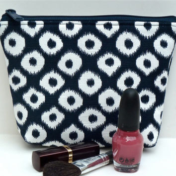 Blue and White Ikat Padded Cosmetic Bag/Makeup Bag/Zippered Pouch