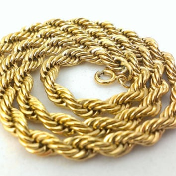 Trifari Layering Necklace Rope Chain Necklace Gold Tone 1970s Boho Hipster Pendant Necklace Designer Costume Jewelry