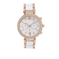 FOREVER 21 Two-Tone Chronograph Watch White/Light Rose One