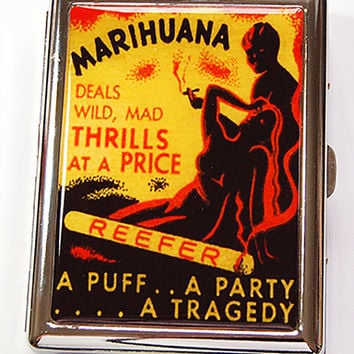 Funny Cigarette Case, retro cigarette case, Reefer Madness, cigarette case humor, Metal Wallet, Marijuana case, cigarette box, retro (4883)
