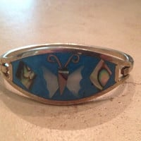 Vintage Mexican Bracelet Alpaca Silver Blue Mother of Pearl Mexico Jewelry