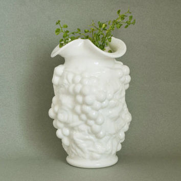 Vintage Imperial Grape and Vine Puffy Milk Glass Vase, Wedding Baby Shower Decor